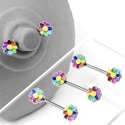Steel Rainbow Daisy Nipple Barbell