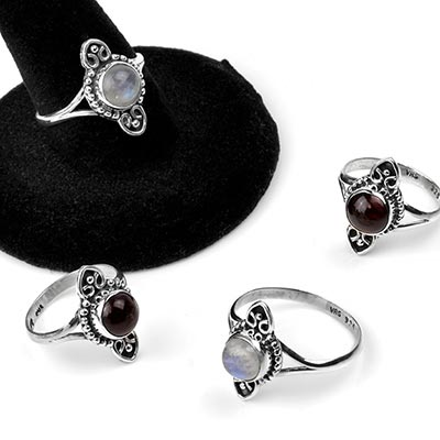 Silver and Stone Planchette Ring