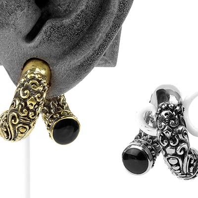 Brass Coil Weights with Black Onyx