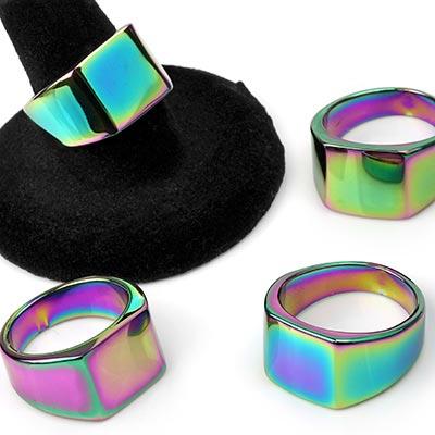 Steel Rainbow Square Ring