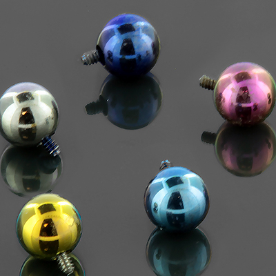 Titanium internally threaded ball