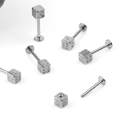 Steel Labret With Dice End