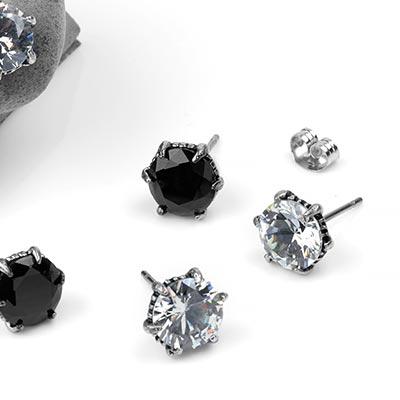 Steel Clawed Gem Stud Earrings