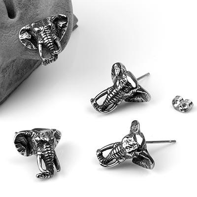 Steel Elephant Stud Earrings