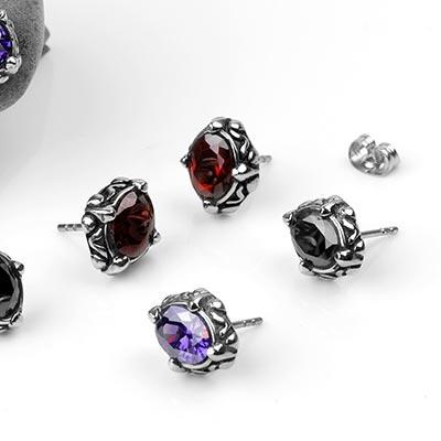 Steel Gemmed Dais Stud Earrings
