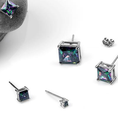 Silver and Rainbow Topaz Square Gem Stud Earrings
