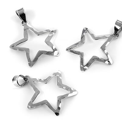 Silver Hammered Star Pendant