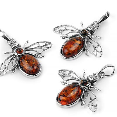 Silver and Amber Bee Pendant