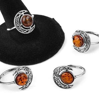 Silver and Amber Celtic Moon Ring