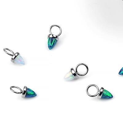 Titanium Synthetic Opal Dangle Charm