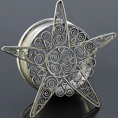 Silver Filigree Star Plugs