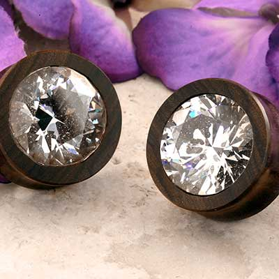Chechen Wood Plugs with CZ Gems