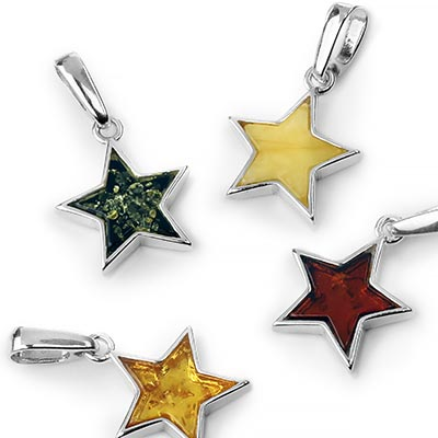 Silver and Amber Star Pendant