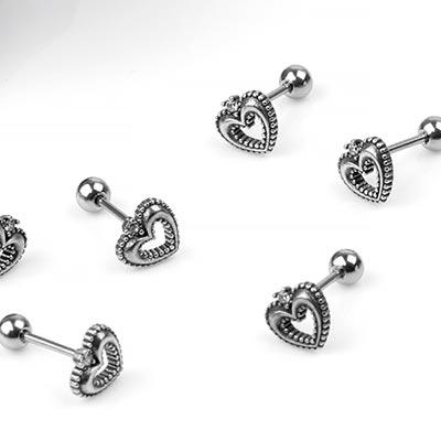 Silver Gemmed Heart Barbell