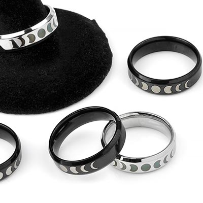 Steel Moon Phases Ring