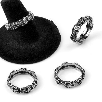 Steel Skull Band Ring