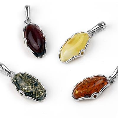 Silver and Amber Flourish Pendant