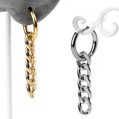 Chain Link Dangle Huggie Earring