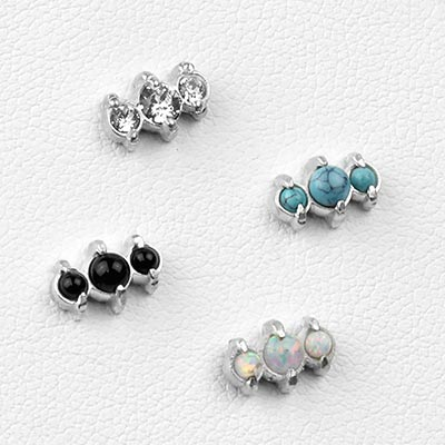 Silver and Stone Triad Threadless Ends