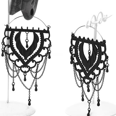 Black Chandelier Lace Hoops