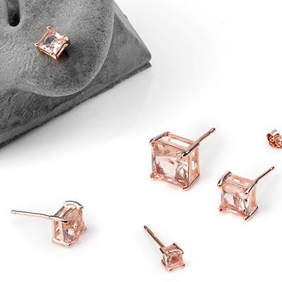 Morganite Square Gem Stud Earrings