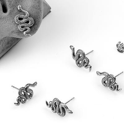 Silver Serpent Stud Earrings