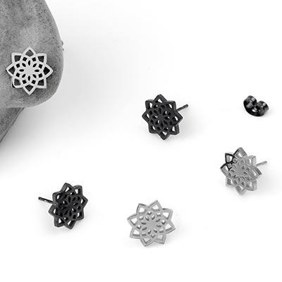 Steel Lotus Stud Earrings