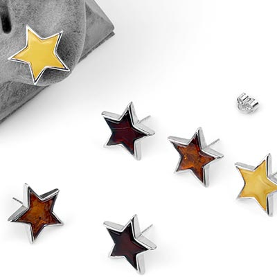 Silver and Amber Star Stud Earrings