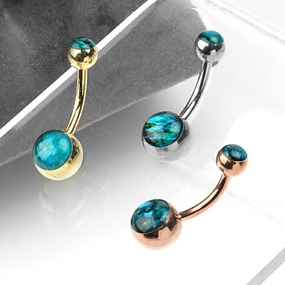 Steel and Blue Abalone Navel