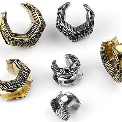 Textured Brass Hexagonal Saddle