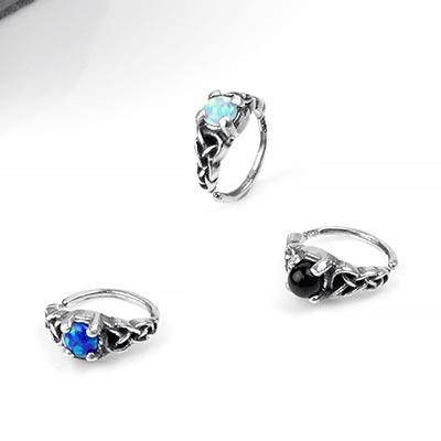 Silver Celtic Braid Side-Set Seamless Ring