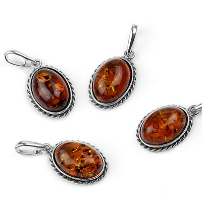 Silver and Amber Braided Frame Pendant
