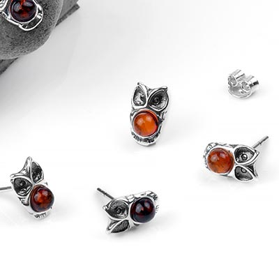 Silver and Amber Owl Stud Earrings