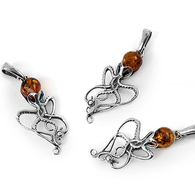 Silver and Amber Octopus Pendant
