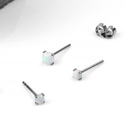 Titanium Prong Set Opal Earrings