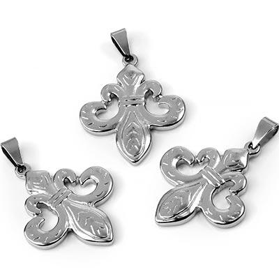 Steel Fleur De Lis Pendant
