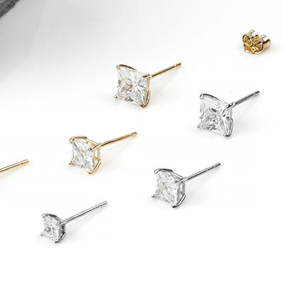 14K Gold Stud Earring with Prong Set Square CZ Gem
