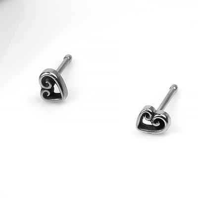 Steel Swirled Heart Nosebone