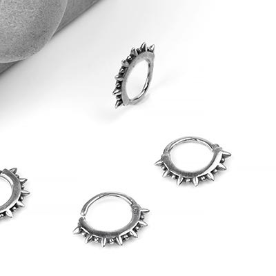 Silver Spiked Seamless Ring