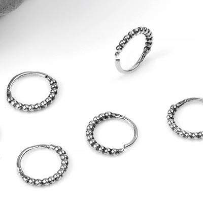 Silver Beaded Seamless Ring