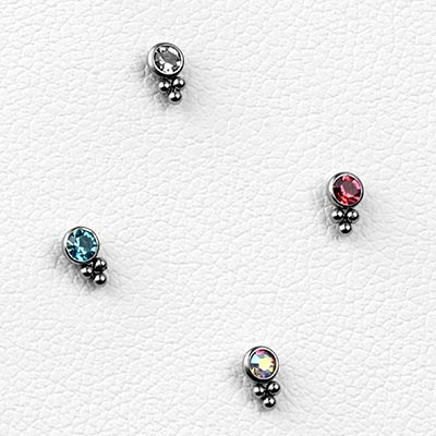Steel Gem and Bead Cluster Threadless Ends