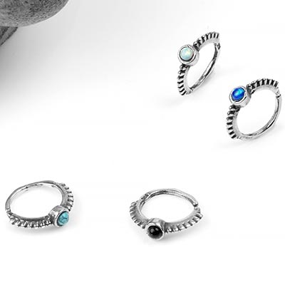Silver Beaded Side-Set Seamless Ring