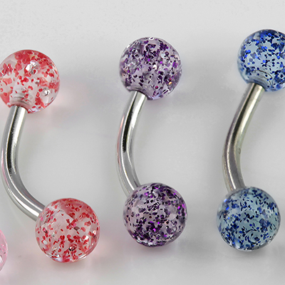 Steel curved barbell with glitter balls