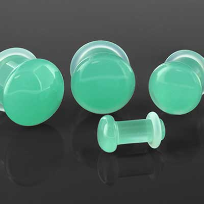 Single flare mint opalite plugs