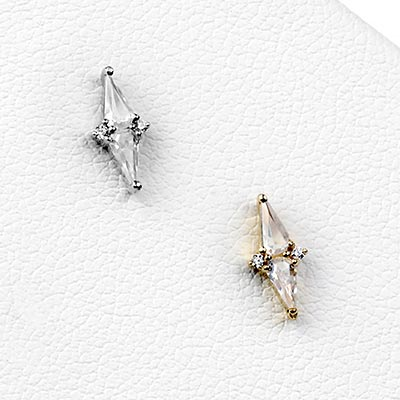 Solid 14k Gold Hi, Society Threadless End with CZ