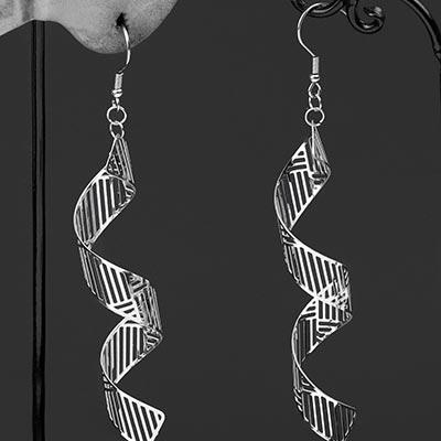 Steel Patterned Spiral Dangle Earrings