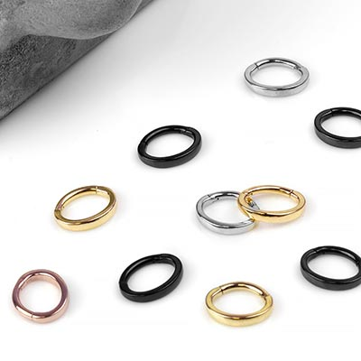 Steel Oval Rook Clicker Ring