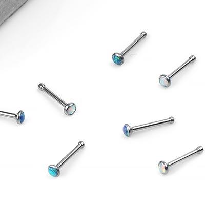 Titanium Bezel Set Synthetic Opal Nosebone