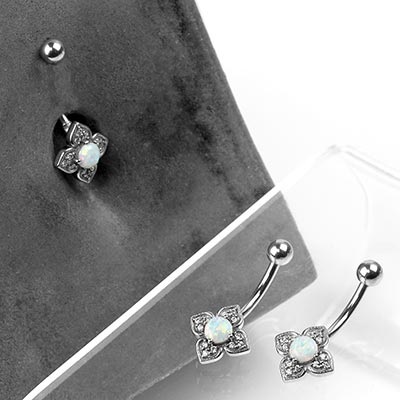 Steel and Gemmed Flower Navel with Faceted Synthetic Opal