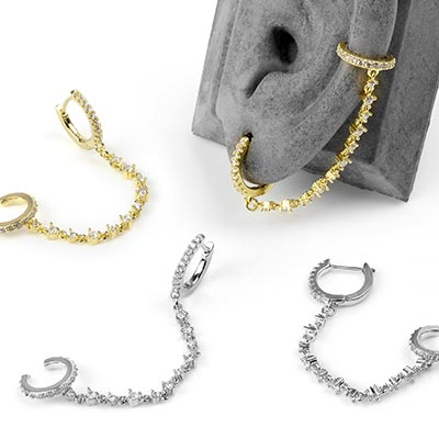 Huggie Earring with Gemmed Chain and Ear Cuff
